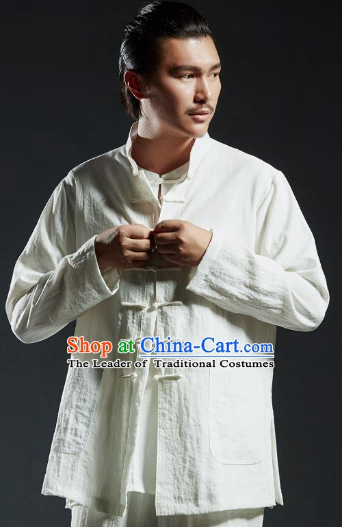 Chinese Kung Fu Shirts Martial Arts White Linen Jacket Gongfu Costume Wushu Tai Chi Clothing for Men