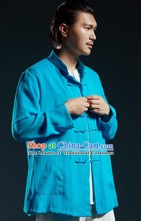Chinese Kung Fu Shirts Martial Arts Blue Linen Jacket Gongfu Costume Wushu Tai Chi Clothing for Men