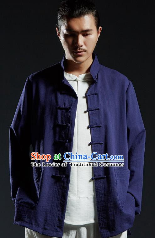 Chinese Kung Fu Shirts Martial Arts Navy Linen Jacket Gongfu Costume Wushu Tai Chi Clothing for Men