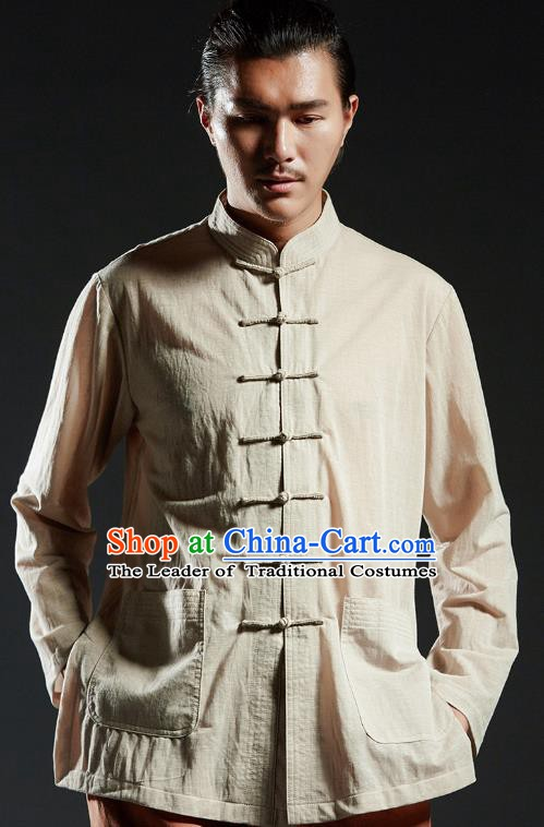 Chinese Kung Fu Shirts Martial Arts Khaki Linen Jacket Gongfu Costume Wushu Tai Chi Clothing for Men