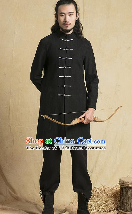 Chinese Kung Fu Martial Arts Costume Black Coats Tang Suits Gongfu Wushu Tai Chi Clothing for Men