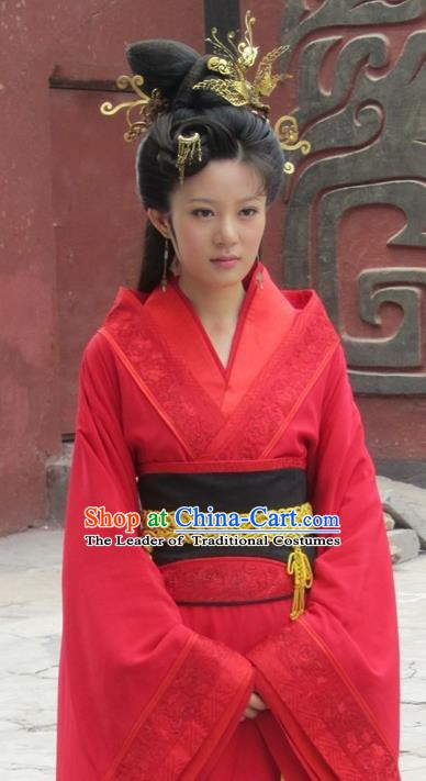 Traditional Chinese Ancient Warring States Period Xi Shi Hanfu Red Dress Embroidered Replica Costume for Women