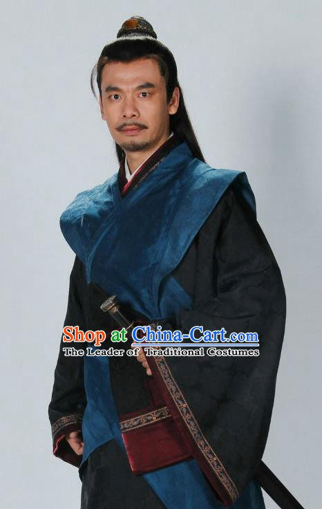 Traditional Chinese Ancient Warring States Period Qin State Prince Chu Liji Replica Costume for Men