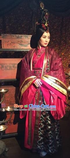 Traditional Chinese Ancient Chu Kingdom Queen Wei Dress Embroidered Replica Costume for Women