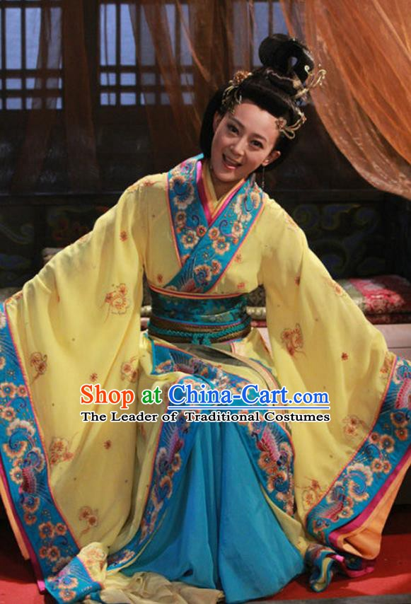 Traditional Chinese Ancient Warring States Period Kingdom Wu Imperial Concubine Wei Embroidered Replica Costume for Women