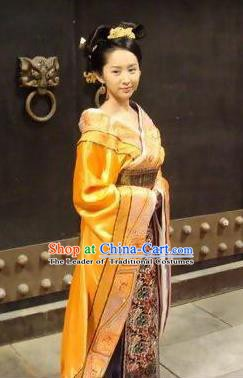 Chinese Ancient Han Dynasty Empress Zhang Yan Hanfu Embroidered Replica Costume for Women