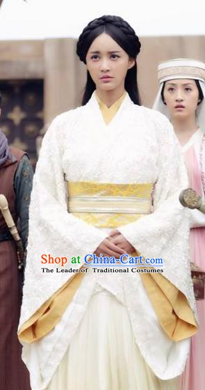 Chinese Ancient Han Dynasty Princess Jie You Hanfu Embroidered Replica Costume for Women