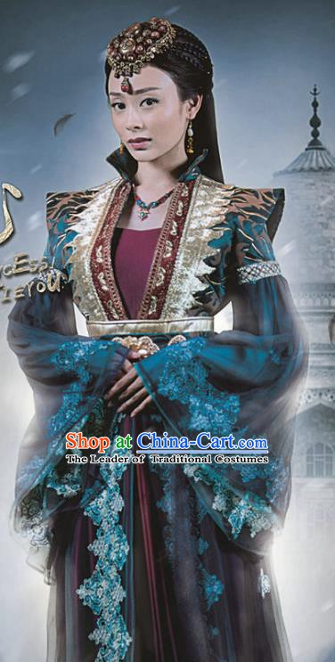 Chinese Ancient Han Dynasty Huns Imperial Concubine Replica Costume for Women