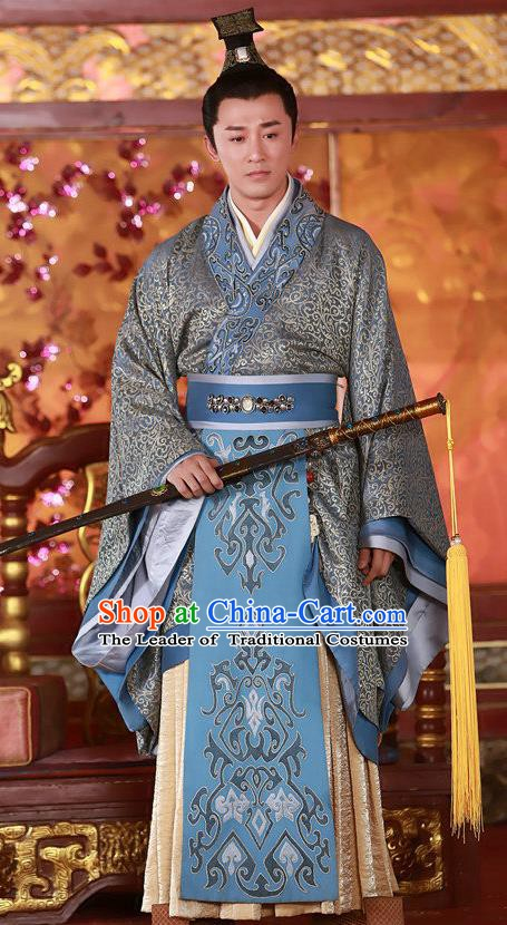 Ancient Chinese Han Dynasty Emperor Wu Liu Che Replica Costume for Men