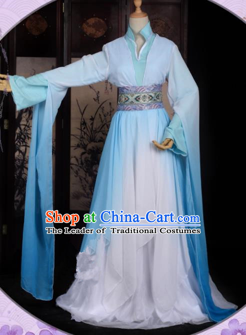 Chinese Ancient Palace Princess Costume Cosplay Fairy Blue Dress Hanfu Clothing for Women