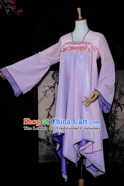 Chinese Ancient Young Lady Costume Cosplay Swordswoman Lilac Dress Hanfu Clothing for Women
