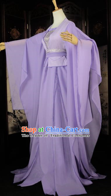 Chinese Ancient Fairy Young Lady Purple Costume Cosplay Female Swordsman Little Dragon Maiden Dress Hanfu Clothing for Women
