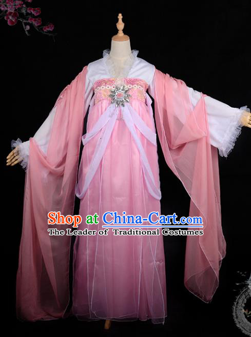 Chinese Ancient Palace Lady Ink Painting Costume Cosplay Swordswoman Pink Dress Hanfu Clothing for Women