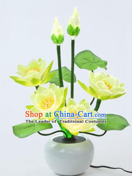 Traditional Handmade Chinese Bonsai Lotus Lanterns Electric LED Lights Lamps Desk Lamp Decoration