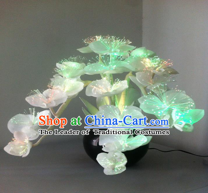 Traditional Handmade Chinese Bonsai Butterfly Orchid Lanterns Electric LED Lights Lamps Desk Lamp Decoration