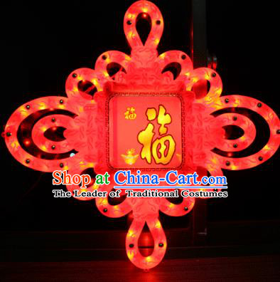 Traditional Handmade Chinese Lanterns Spring Festival Chinese Knots Electric Character Fortune LED Lights Lamps Hanging Lamp Decoration