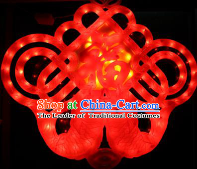 Traditional Handmade Chinese Lanterns Spring Festival Double Fishes Chinese Knots Electric Character Fortune LED Lights Lamps Hanging Lamp Decoration