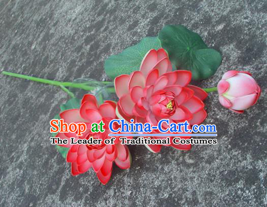 Traditional Handmade Chinese Red Lotus Decoration Buddhist Temple Decoration