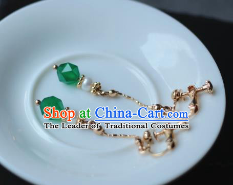 Traditional Chinese Ancient Handmade Hanfu Green Beads Earrings for Women