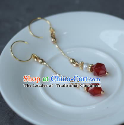 Traditional Chinese Ancient Handmade Hanfu Red Beads Earrings for Women