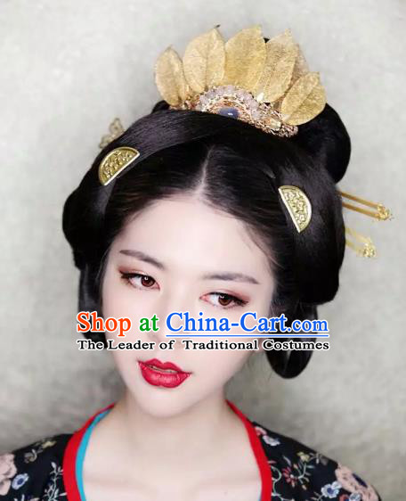 Traditional Chinese Ancient Lotus Coronet Classical Hair Accessories Handmade Hairpins for Women