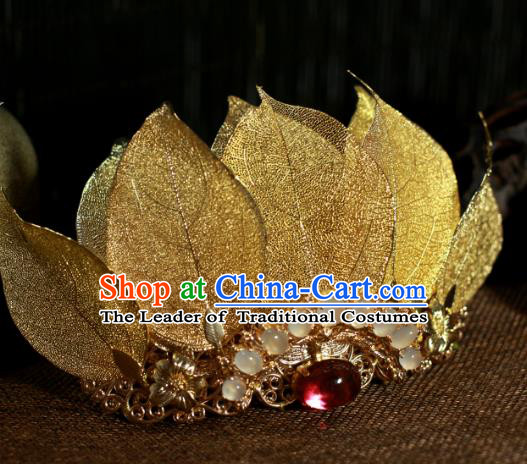 Traditional Chinese Ancient Red Opal Lotus Coronet Classical Hair Accessories Handmade Hairpins for Women