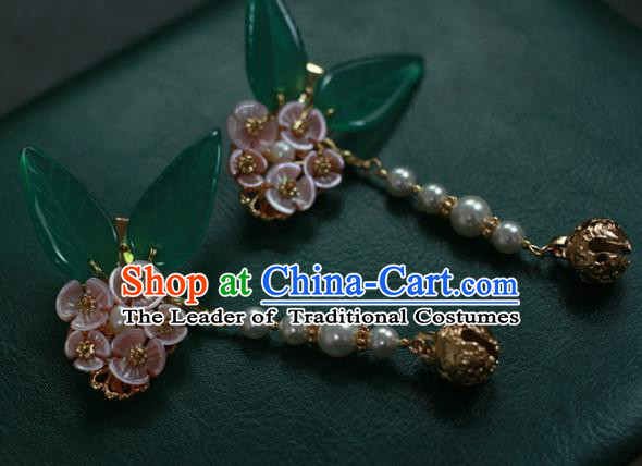 Traditional Chinese Ancient Bells Tassel Hair Stick Classical Hair Accessories Handmade Pink Flowers Hairpins for Women