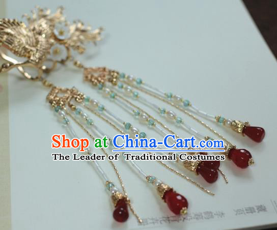 Traditional Chinese Ancient Red Beads Tassel Step Shake Classical Hair Accessories Handmade Hairpins for Women