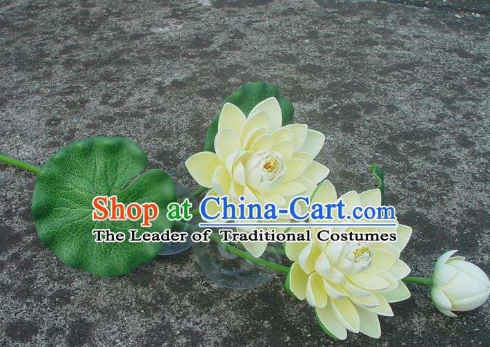 Traditional Handmade Chinese Beige Lotus Decoration Buddhist Temple Decoration