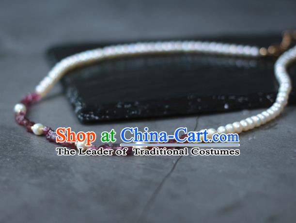 Traditional Chinese Ancient Handmade Hanfu Pearls Necklace for Women
