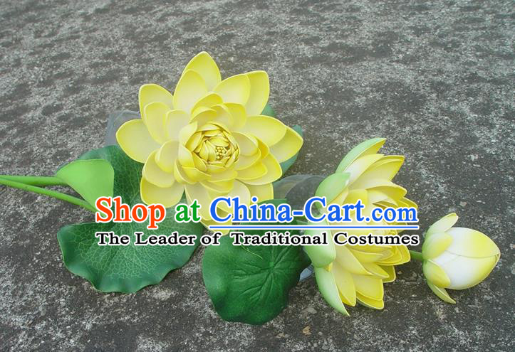 Traditional Handmade Chinese Yellow Lotus Decoration Buddhist Temple Decoration