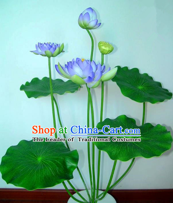 Traditional Handmade Chinese Purple Lotus Bonsai Decoration Buddhist Temple Decoration