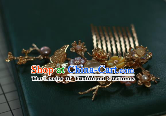 Traditional Chinese Ancient Golden Butterfly Hair Comb Classical Hair Accessories Handmade Hairpins for Women
