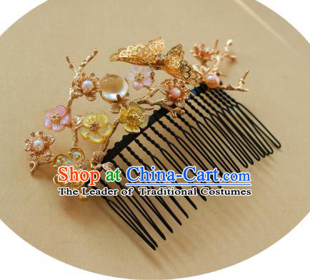 Traditional Chinese Ancient Butterfly Hair Comb Classical Hair Accessories Handmade Hairpins for Women