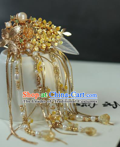 Traditional Chinese Ancient Long Tassel Hair Claws Classical Hair Accessories Handmade Hairpins for Women