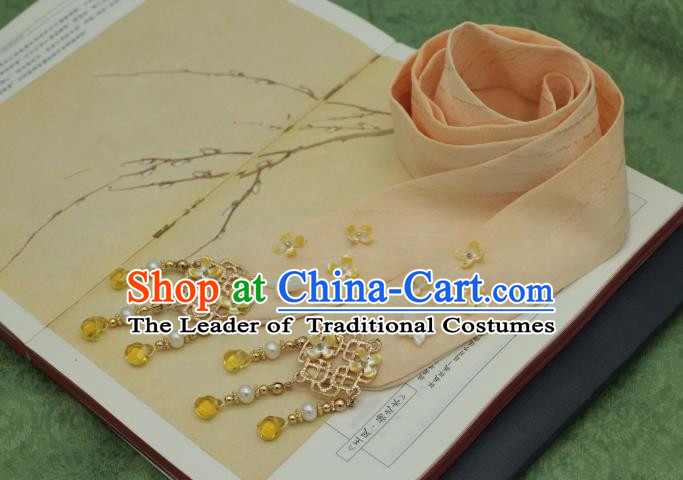 Traditional Chinese Ancient Hair Accessories Handmade Pink Silk Headband Hairpins for Women