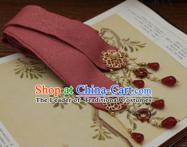 Traditional Chinese Ancient Hair Accessories Handmade Red Silk Headband Hairpins for Women