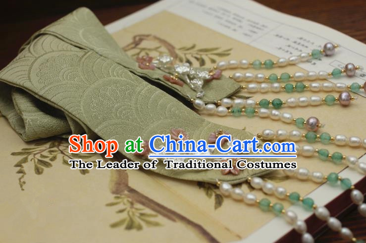 Traditional Chinese Ancient Hair Accessories Handmade Green Silk Headband Hairpins for Women