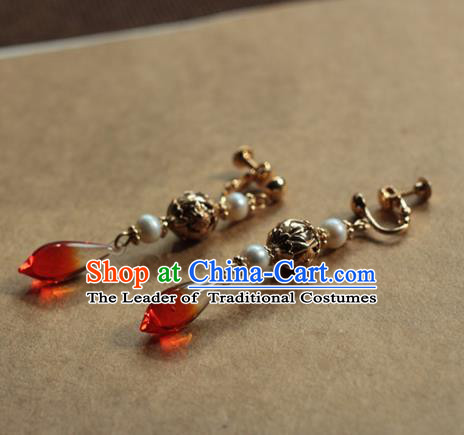 Traditional Chinese Ancient Handmade Earrings Hanfu Red Agate Eardrop for Women