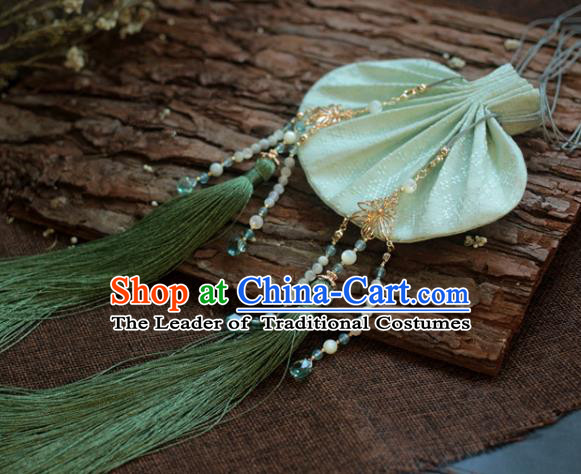 Traditional Chinese Ancient Handmade Green Cloth Purse Hanfu Sachet for Women