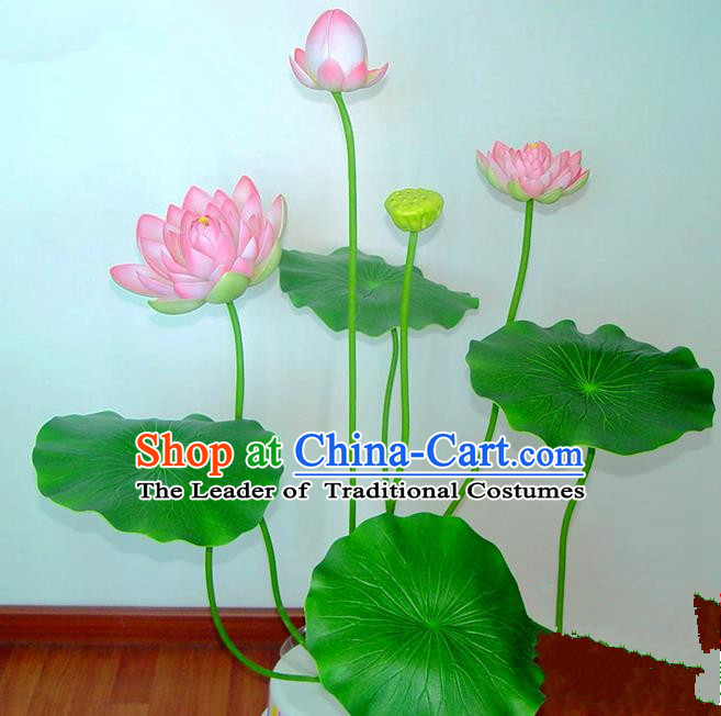 Traditional Handmade Chinese Pink Lotus Bonsai Decoration Buddhist Temple Decoration