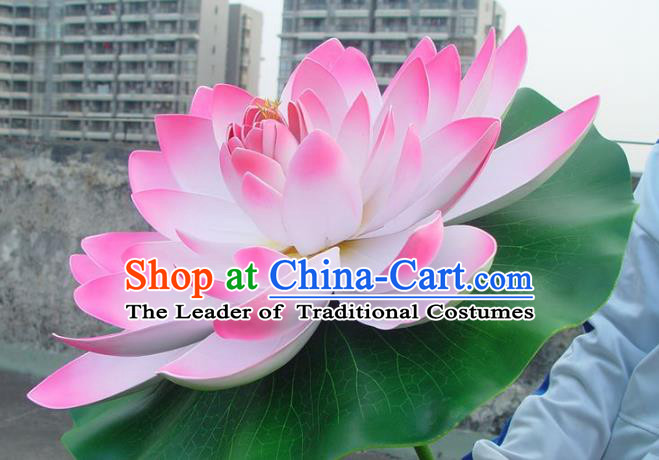 Traditional Handmade Chinese Pink Lotus Props Folk Dance Decoration