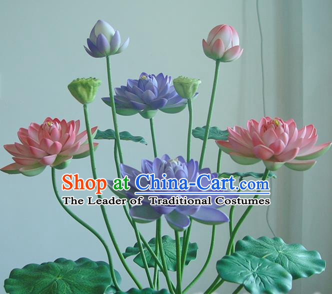 Traditional Handmade Chinese Pink Lotus Props Folk Dance Bonsai Decoration