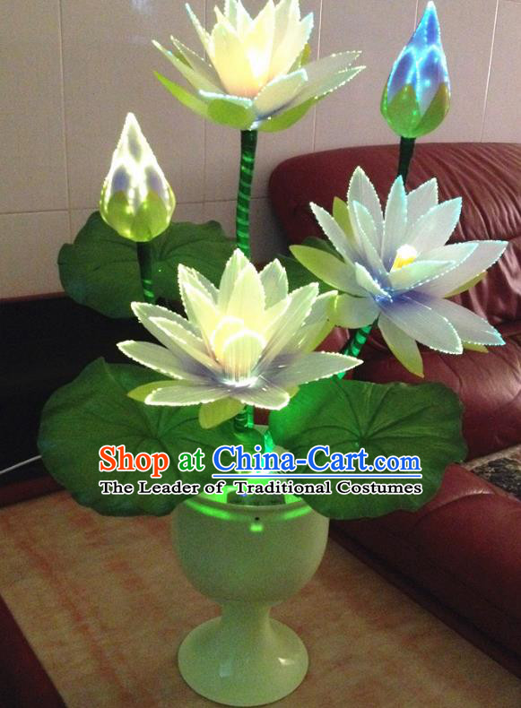 Traditional Handmade Chinese Lotus Electric LED Lights Lamps Lamp Decoration