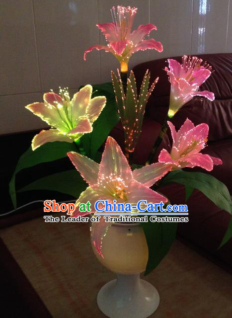 Traditional Handmade Chinese Lily Flowers Electric LED Lights Lamps Lamp Decoration