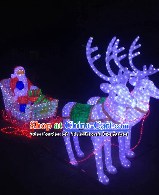 Traditional Handmade Christmas Electric LED Lights Lamps Elk Lamp Decoration
