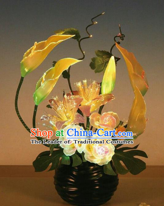 Traditional Handmade Chinese Bonsai Alocasia Lanterns Electric LED Lights Lamps Desk Lamp Decoration