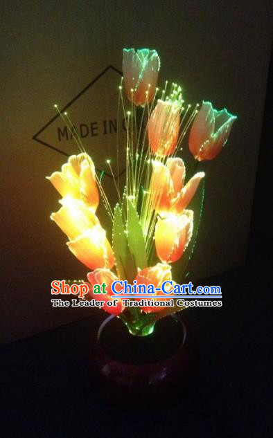 Traditional Handmade Chinese Yellow Tulip Lanterns Electric LED Lights Lamps Desk Lamp Decoration