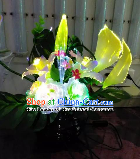 Traditional Handmade Chinese Common Callalily Lanterns Electric LED Lights Lamps Desk Lamp Decoration