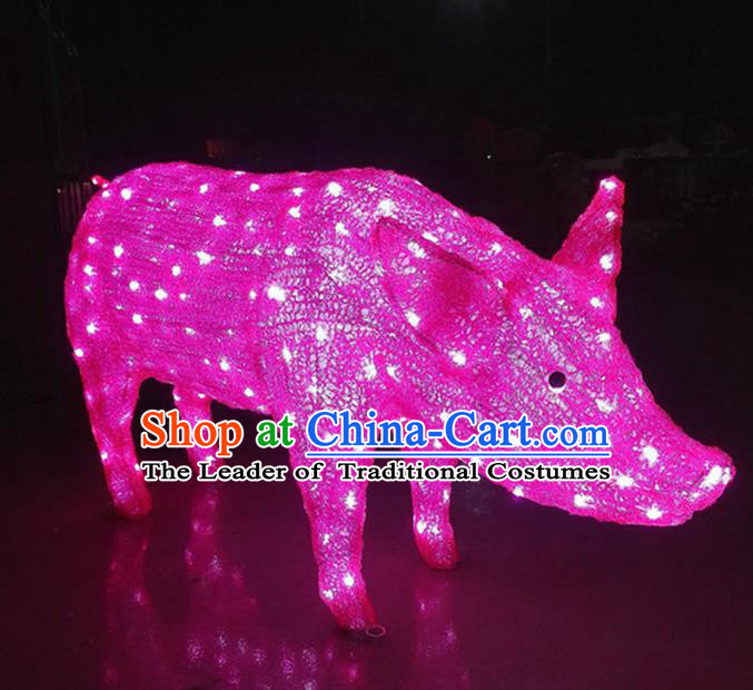Traditional Handmade Chinese Zodiac Pig Electric LED Lights Lamps Lamp Decoration